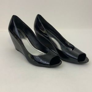 Franco Sarto Black Patent Leather Tabby Wedges 9